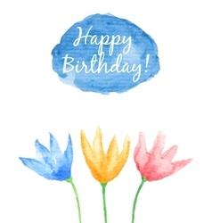 Floral happy birthday card vector