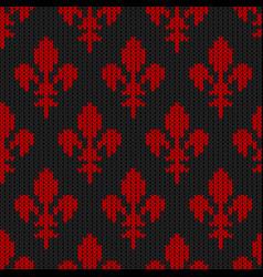 Flower-de-luce on a seamless woolen pattern vector