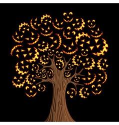 Halloween horror icons tree vector image