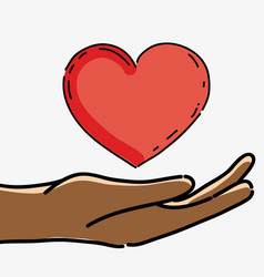 Hand with heart to celebrate freedom juneteenth vector