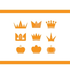 Icons crowns set vector