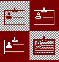 Id card sign bordo and white icons and vector