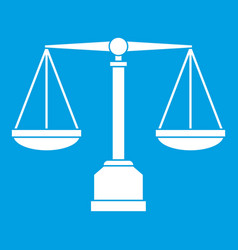 justice scale icon white vector image vector image