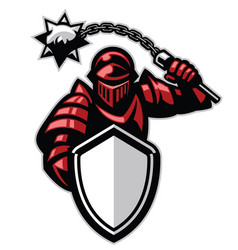 Knight with shield and spiky ball weapon vector