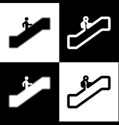 Man on moving staircase going up black vector