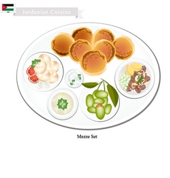 Mezze or jordanian assorted of oriental food vector