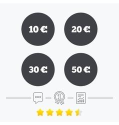 Money in euro icons ten twenty fifty eur vector