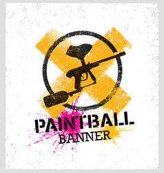paintball marker gun splat banner on grunge vector image vector image