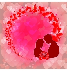 Pink backgrounda silhouette of guy with girl vector