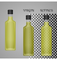 Realistic olive oil bottle mockup with transparent vector