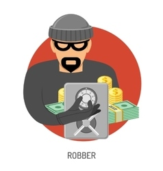 Robber icon with safe vector