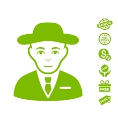 Secret service agent icon with free bonus vector