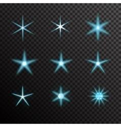 Set of glowing light bursts on black vector