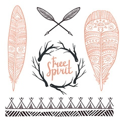 Set rustic logo elements - arrows branches and vector image