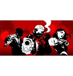 Three killers in red vector