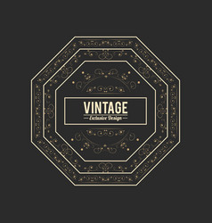 Vintage and exclusive badge geometric frame style vector