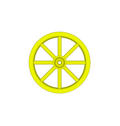 Vintage wooden wheel in yellow design vector