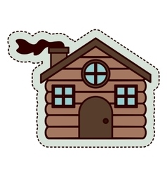 Wood house of merry christmas design vector