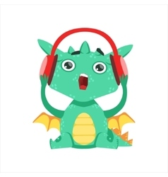 Little anime style baby dragon listening to music vector