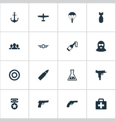 Set of simple battle icons vector