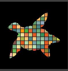 sea turtle reptile color silhouette animal vector image