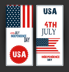 happy independence day flag of usa with text vector image