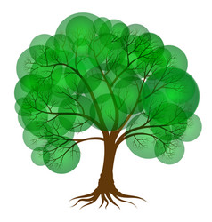 abstract tree covered with green foliage in the vector image