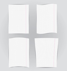 set checkered notebook paper on gray background vector image