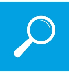 Magnifying glass white icon vector