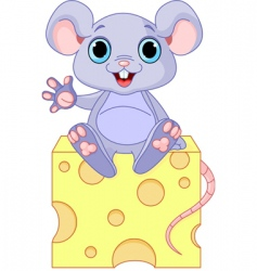 Mouse on cheese vector