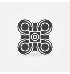 Drone black icon or logo vector