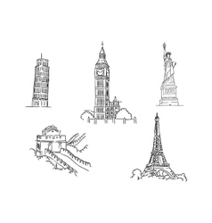 Set of famous world landmarks vector
