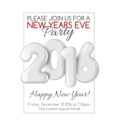 Invitation to new year party with white numbers vector
