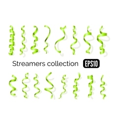 Collection of green streamers and party ribbons vector