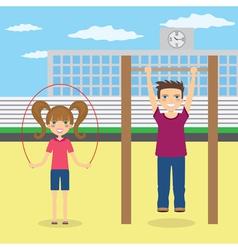 Children near school vector image