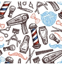 Barber shop attributes doodle seamless pattern vector