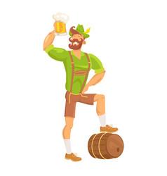 Bearded man drinking beer vector