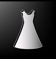 Beautiful long dress sign gray 3d printed vector
