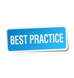 Best practice blue square sticker vector