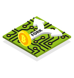 bitcoin fork with processor board and arrow vector image vector image