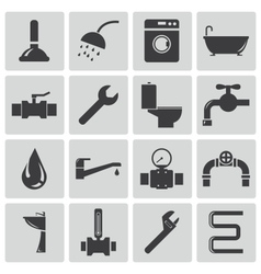 Black plumbing icons set vector