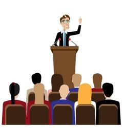 Businessman public speaking vector image vector image
