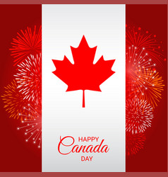 canada flag with fireworks for national day of vector image vector image