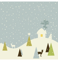 Christmas small house vector image