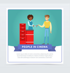 Cinema worker giving 3d glasses to visitor people vector