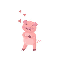 cute pig character in love funny cartoon romantic vector image vector image
