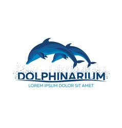 Dolphinarium dolphin logo banner flat vector