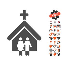 family church icon with love bonus vector image
