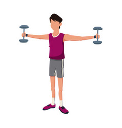 Fitness man weight biceps lifting vector