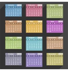 Flat 2014 Calendar vector image vector image